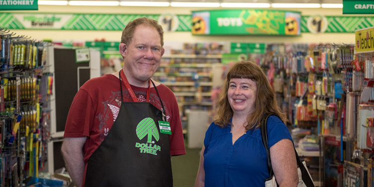 Photo of supported employment at the Dollar Tree